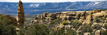 Panorama Of Grand Mesa In Colorado, Showing Long Views And A Dramatic Tall Rock Spike