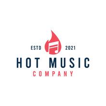 Hot Music Logo Design Vector Stock