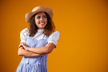 Brazilian Woman Wearing Typical Clothes For The Festa Junina With Cross Arms