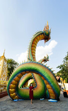 Colorful And Beautiful King Of Nagas Or Serpent At Phrathat Nong Bua Temple. Ubon Ratchathani Province, Thailand, ASIA.