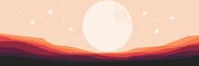 Moonrise In The Mountain Landscape Flat Design Vector Illustration For Wallpaper, Background, Design Template, Tourism Design Template And Adventure Design Template