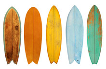 Collection Of Vintage Wooden Fishboard Surfboard Isolated On White With Clipping Path For Object, Retro Styles.