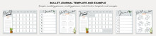 Simple Monthly Planner, Weekly Planner, Habit Tracker Template And Example.  Template For Agenda, Schedule, Planners, Checklists, Bullet Journal, Notebook And Other Stationery.