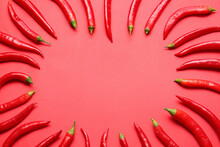 Composition With Hot Chili Pepper On Color Background
