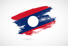 Happy Independence Day Of Laos With Vintage Style Brush Flag Background