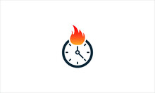 Hot Time Icon Logo Design Element Or Clock With Fire  Flame  Logo Template Vector Illustration