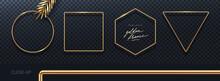 Set Of Realistic Golden Metal Frames. 3d Golden Geometric Shapes - Decoration Elements For Greeting Card, Cover, Poster Or Invitation. Vector Illustration.