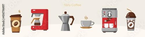 Fotografiet Tasty coffee modern equipment hot drink brewing set