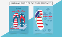 Thongs In The Sand Australia Day Scene In Vector Template. National Flip Flop Day Flyer Template.