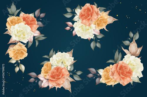 Obraz na plátně Watercolor floral and leaves arrangement template collection