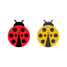 Yellow And Red Ladybug Or Ladybird With Four Points.