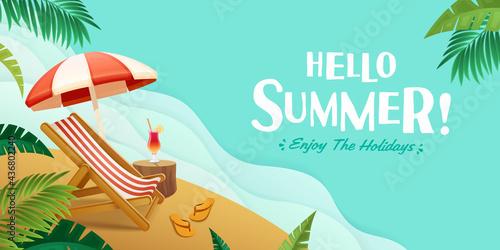 Hello summer holiday beach vacation theme horizontal banner.