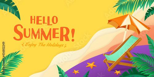 Valokuva Hello summer holiday beach vacation theme horizontal banner.