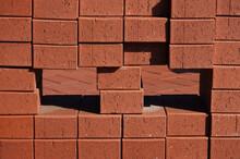 Piles Of New Red Bricks