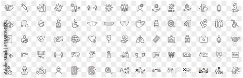 Fotografia Set of Coronavirus and Vaccine line icons, covid19, Medical mask, health, contag