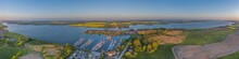 Panorama Aerial View Of  Town Arnis On Firth Of  Schlei, Schleswig-Holsten, Germany. Aerial View Of Town Arnis  The Smallest Town In Germany.