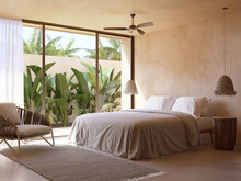 3d Rendering Of A Beige Atmospheric Relaxed Boheme Tulum Style Summer Bedroom With Textured Plastering On The Walls And Exotic Palm Trees