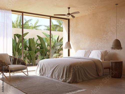 Vászonkép 3d rendering of a beige atmospheric relaxed boheme Tulum style summer bedroom wi