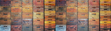 Beekeeper Beekeeping Background Banner Panorama Wallpaper - Wall Made Of Many Old Rustic Wooden Beehives Stacked On Top Of Each Other