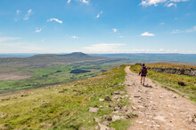 A Young Female Hiker On The Way To The Ingleborough Peak, Yorkshire Three Peaks Challenge