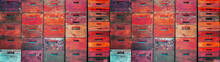 Beekeeper Beekeeping Background Banner Panorama Wallpaper - Abstract Wall Texture Made Of Many Old Rustic Pink Red Orange Painted Colored Wooden Beehives Stacked On Top Of Each Other