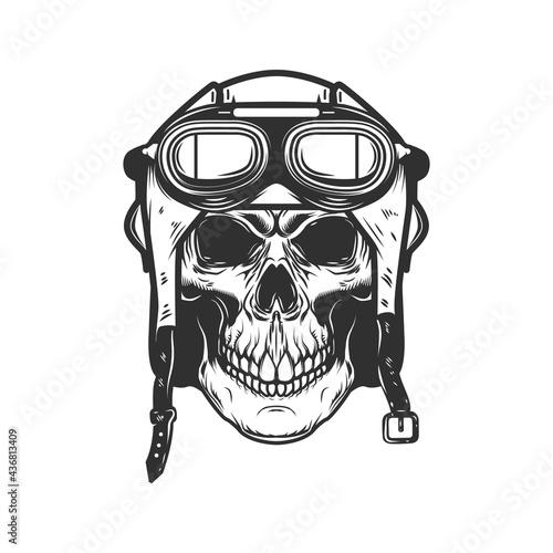 Canvas Aviator skull in aviators helmet