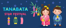 Tanabata Or Star Festival Background With Cowherd And Weaver Girl Holding Bamboo Branches With Hanging Wishes.