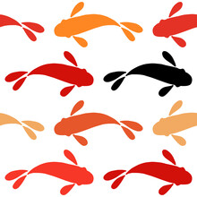 Chinese Or Japanese Seamless Pattern Koi. Carp. Hand-drawn Fish Design. Textile. Vector Illustration For Web Design Or Print.