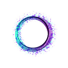 Abstract Bright Color Wave In The Shape Of Circle. Vector Isolated Curly Blue Frame For Background Of Your Design. Eps 10