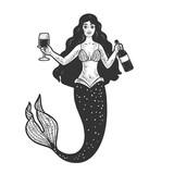 mermaid and wine line art sketch raster