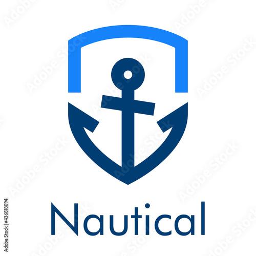 Logotipo con texto Nautical y ancla de barco con forma de escudo con lineas en c Fototapet