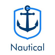 Logotipo Con Texto Nautical Y Ancla De Barco Con Forma De Escudo Con Lineas En Color Azul