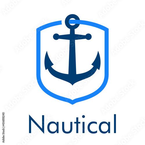 Fotografiet Logotipo con texto Nautical y ancla de barco con forma de escudo con lineas en c