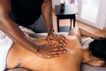 Relaxing Back Massage Close Up