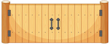 Wooden Fence Gate In Cartoon Style Isolated