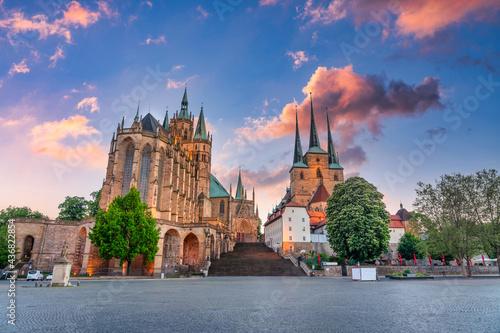 Der Domplatz in Erfurt, Thüringen, Deutschland Fotobehang