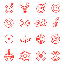 Collection Linear Red Pain Markers Icon Vector Illustration. Set Local Circles Human Part Ache