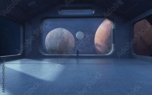 3d render. Futuristic interior and planets Fototapet