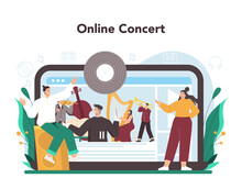 Professional Musician Playing Musical Instruments Online Service Or Platform