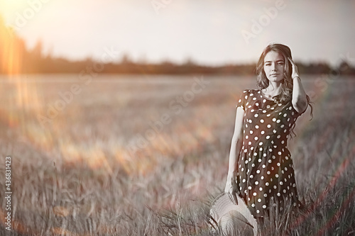 girl dress wheat field / happy summer vacation concept, one model in a sunny fie Fototapet