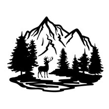 Deer With Wild Nature Landscape Hand Drawn Vector Illustration. The Silhouette Of Pines And Mountains.