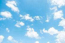 Beautiful White Clouds On The Blue Sky Perfect For The Background