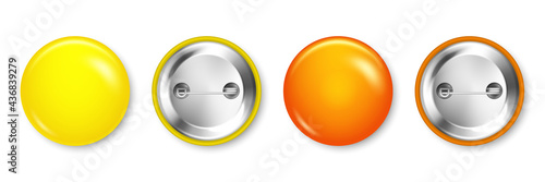 Canvas Realistic yellow and orange blank badges isolated on white background