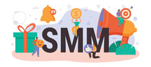 SMM Typographic Header. Social Media Marketing, Advertising