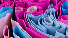 Pink And Blue 3D Undulating Lines Form A Multicolored Abstract Wallpaper. 3D Render.