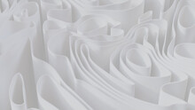 White 3D Waves Arranged To Create A Light Abstract Wallpaper. 3D Render.