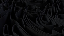 Black 3D Ribbons Form A Dark Abstract Background. 3D Render.