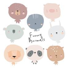 Set Of Cute Cartoon Animals On White Background