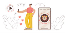 Ephemeral Content Concept. Girl Blogger Records Temporary Content With Limited Time. Vector Illustration Flat Style, A Woman In Social Networks Tells About Her Life. Limited-time History