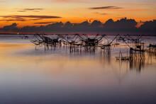 Beautiful Landscape Morning Sky Sunrise, Fishing Using Giant Nets Thale Noi Wetlands